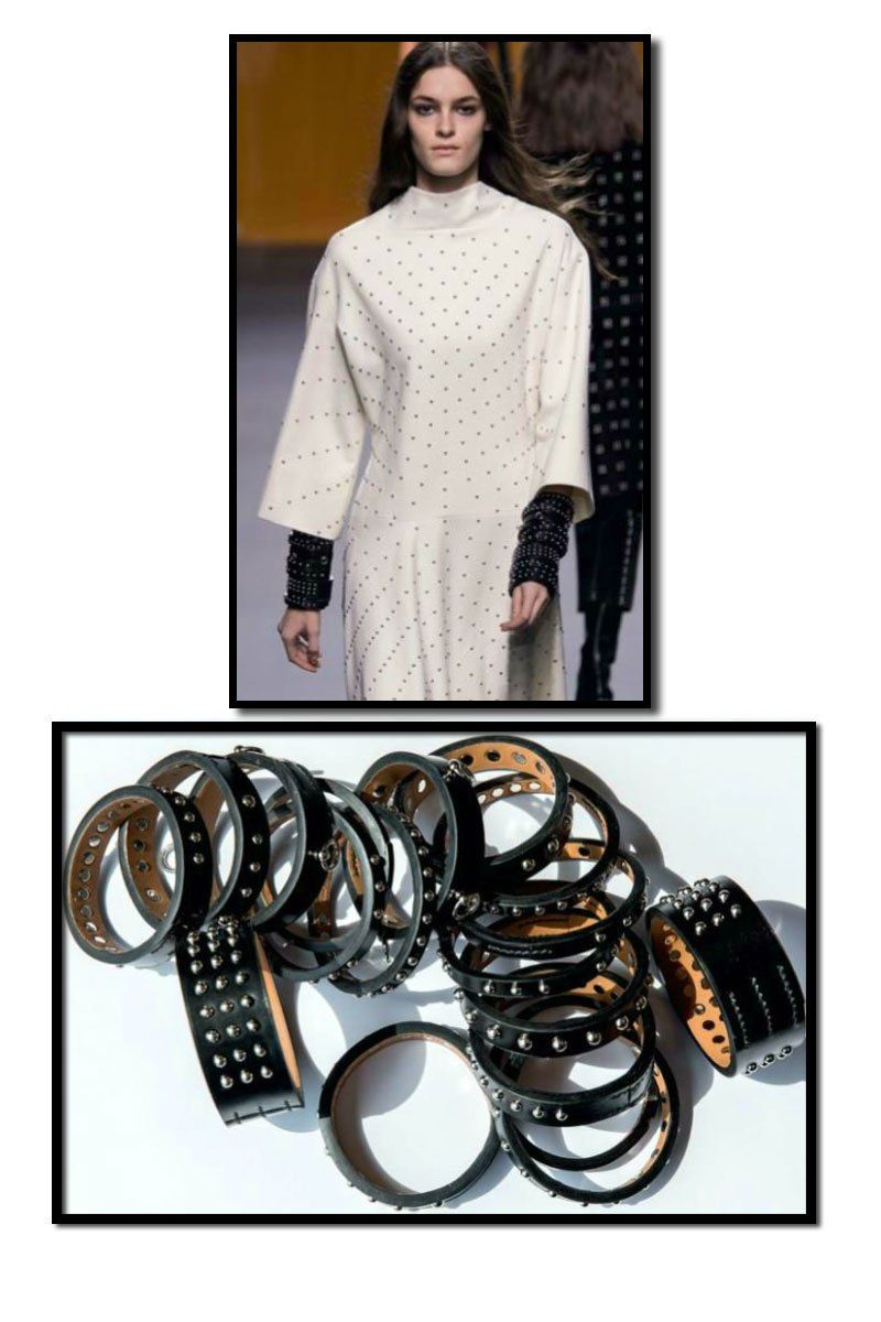 I'd wear about 3 or 4.  LIke them!  Spotted in Vogue Paris – a collection of Hermès studded leather bangles. I like them stacked en masse, three or more, or simply adding asingle to mixwith other bracelets I already own.