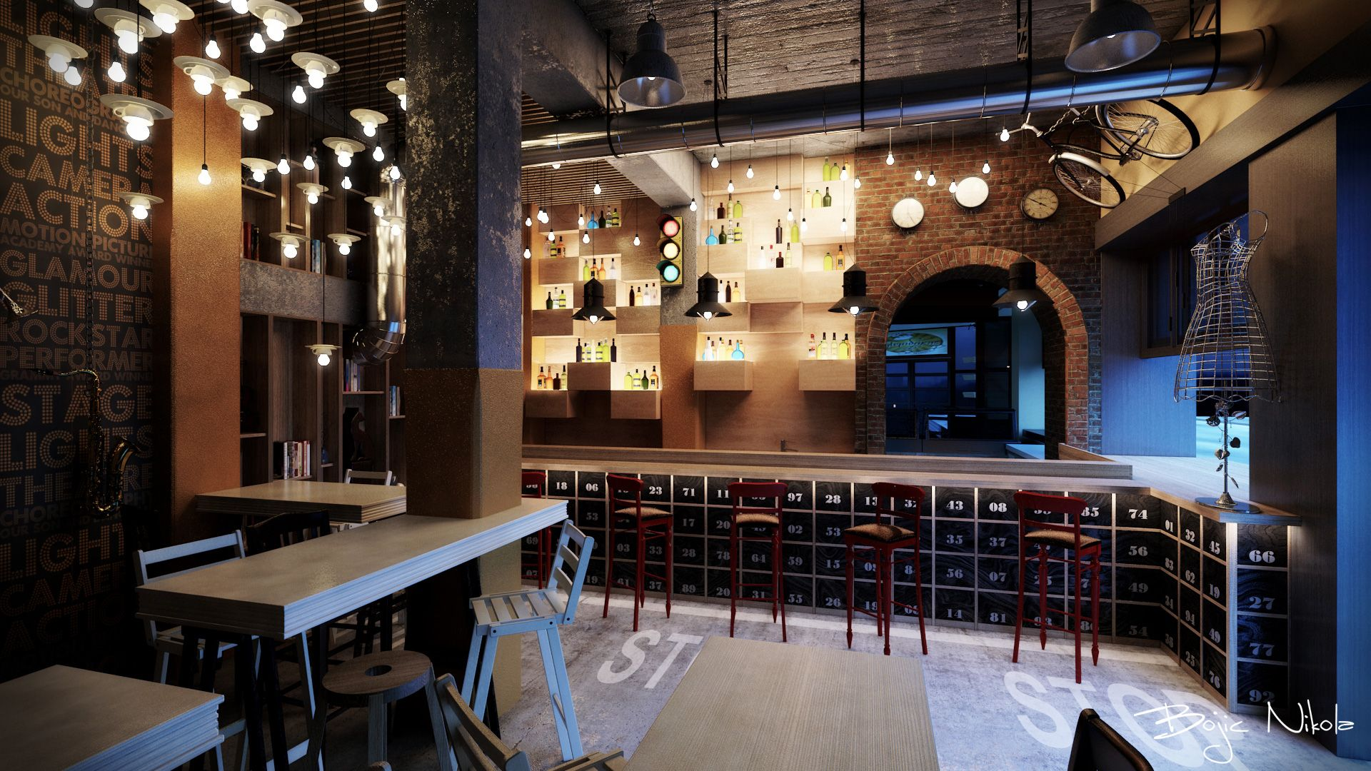 hospitality restaurant interior design bar industrial pendant