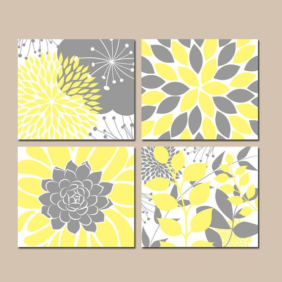YELLOW Gray Wall Art- CANVAS or Prints- Floral Bedroom Pictures ...