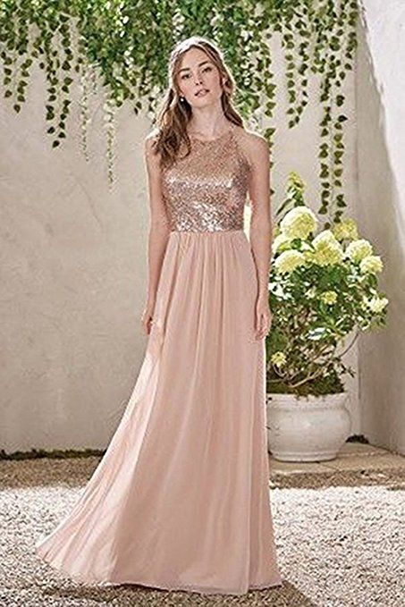 8f822db4f138 Stock Long Chiffon Sequins Prom Bridesmaid Dress Evening Ball Gown Party  Size