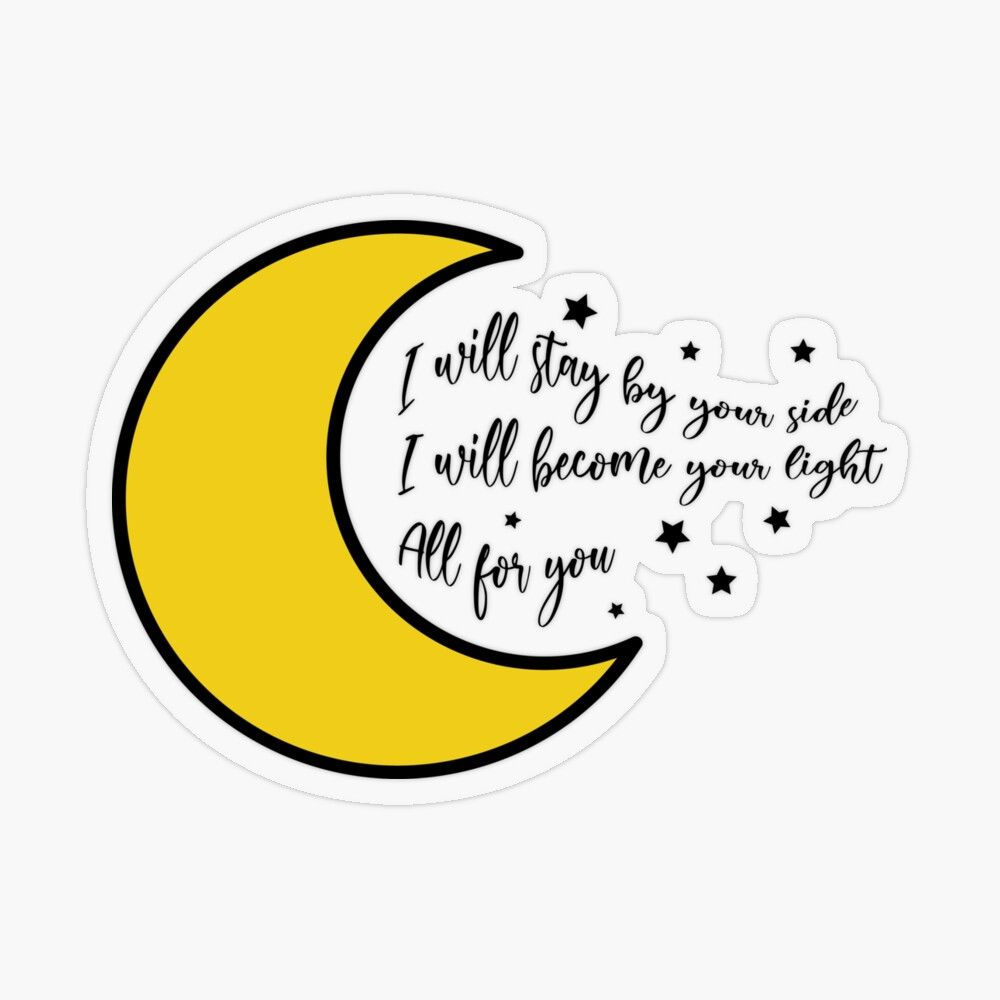 Jin Moon Lyric Transparent Sticker By Nurfzr In 2020 Moon And Star Quotes Lyric Drawings Sticker Album