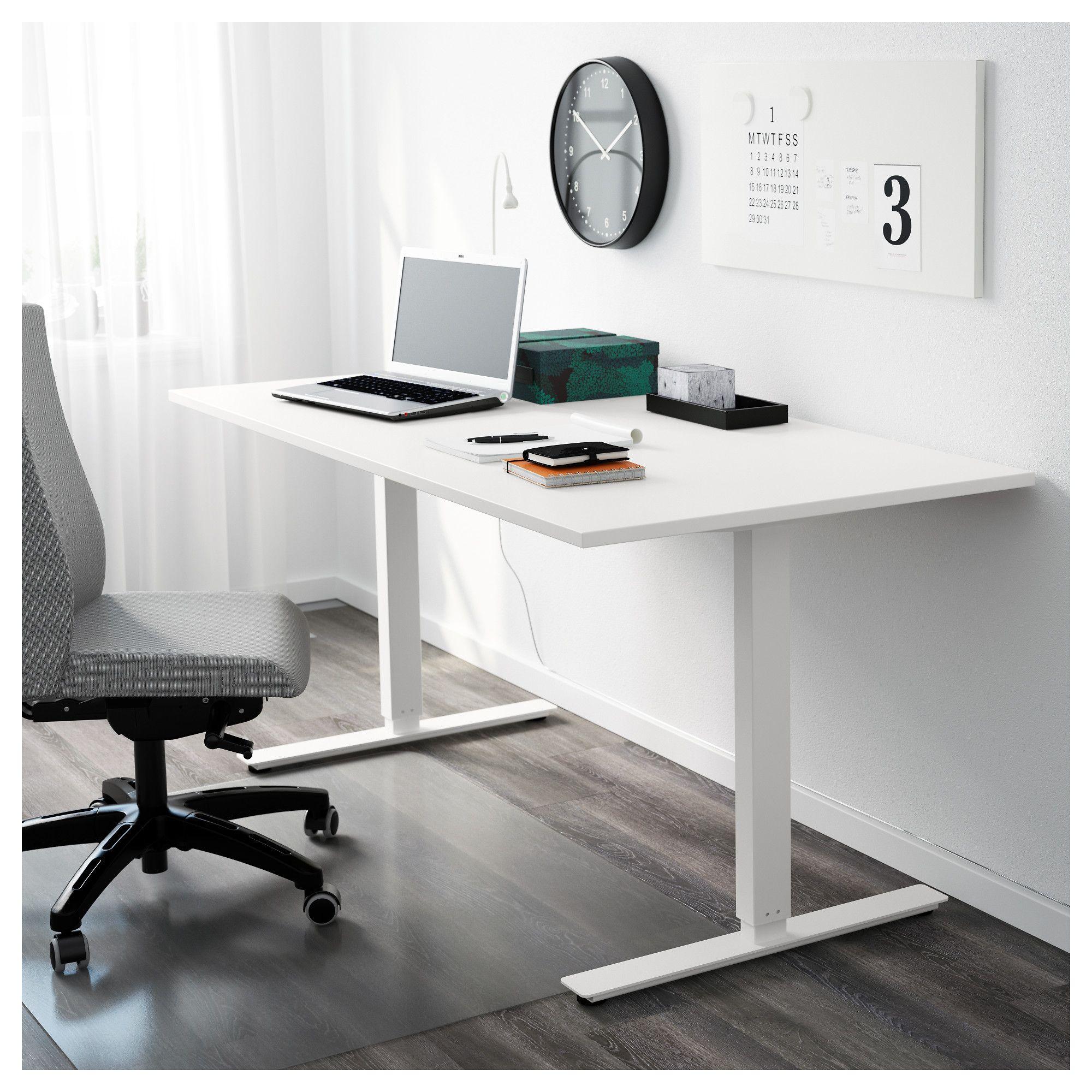 Ikea Zit Sta Bureau.Skarsta Bureau Zit Sta Wit Furniture Mesas Con Ruedas