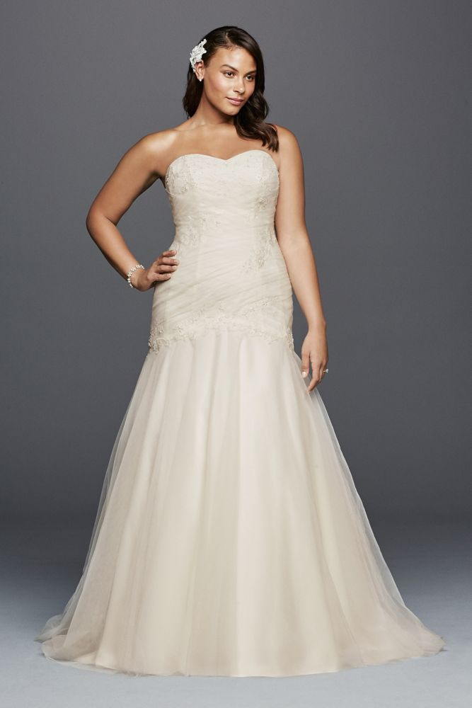 Trumpet plus size wedding dress with lace details ivory for Lace wedding dresses plus size
