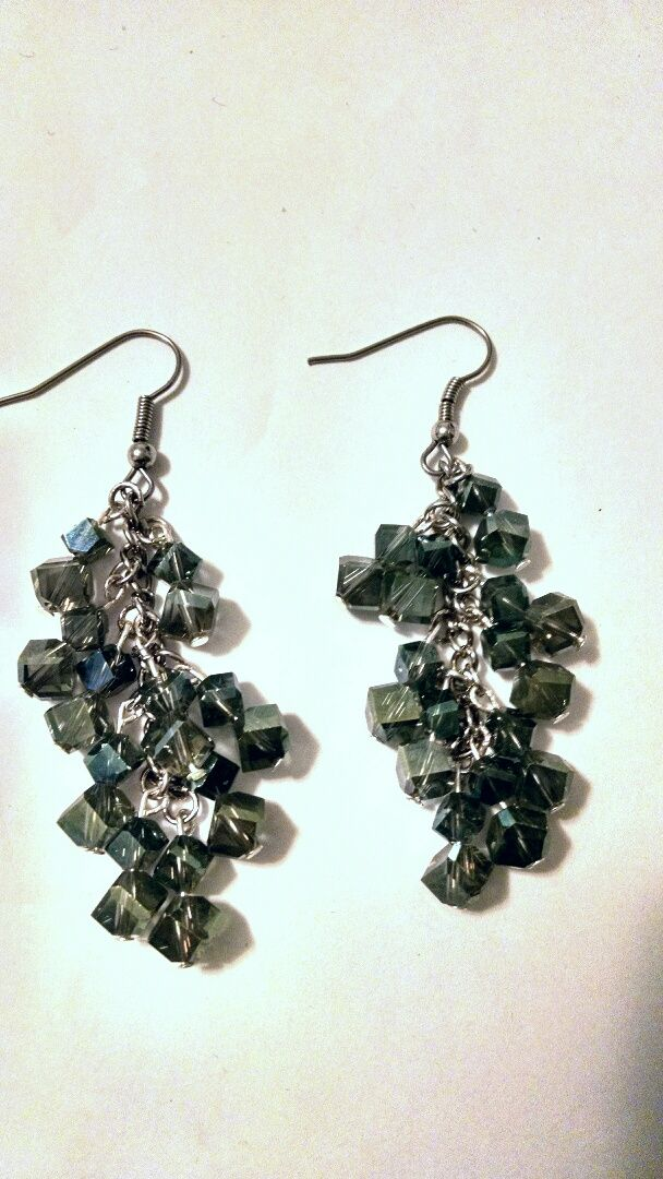 Green Double Edge Glass Cube Earrings · ToRaDiMo · Online Store Powered by Storenvy