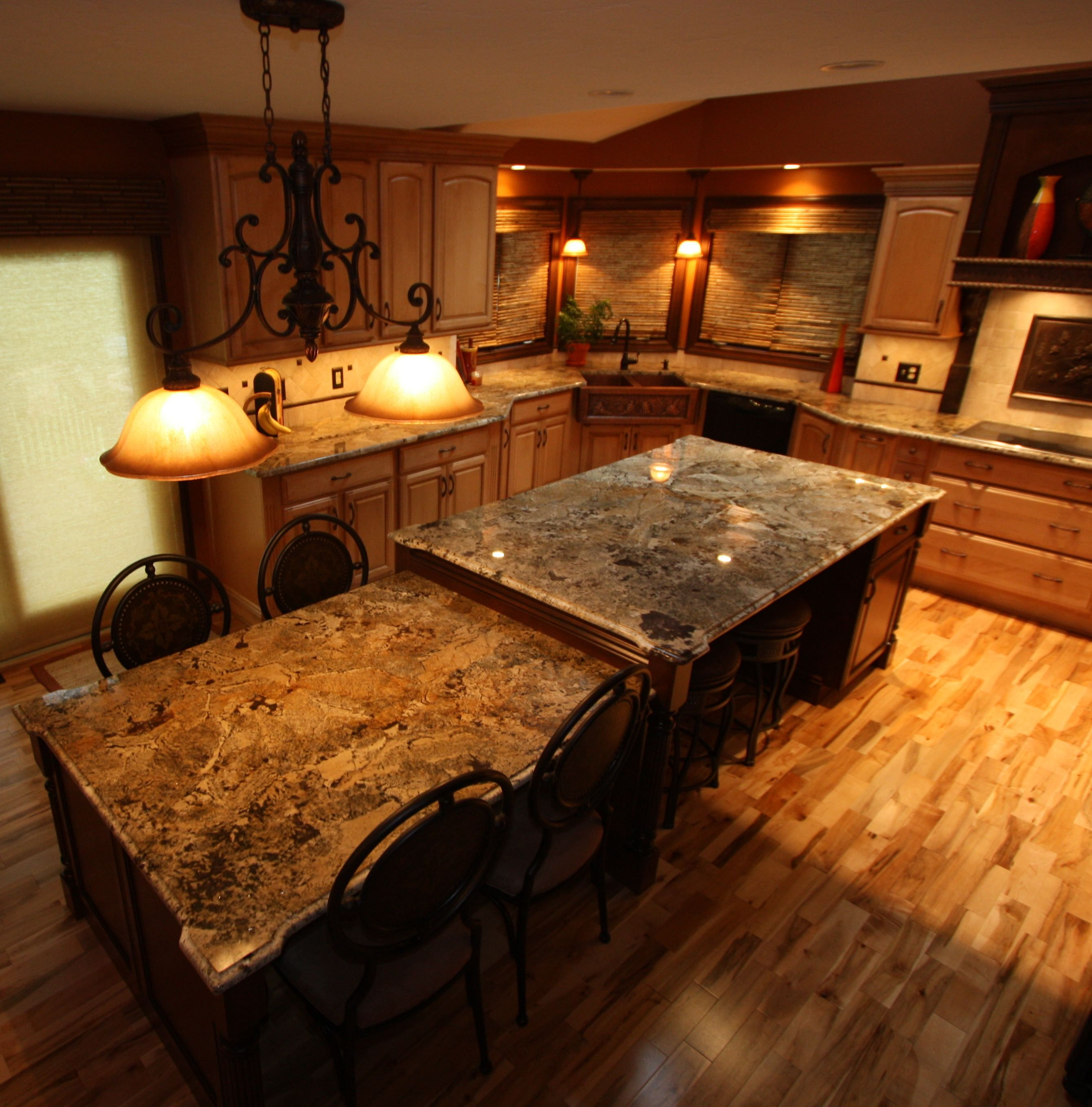 Custom Designed Kitchen With Extended Kitchen Island