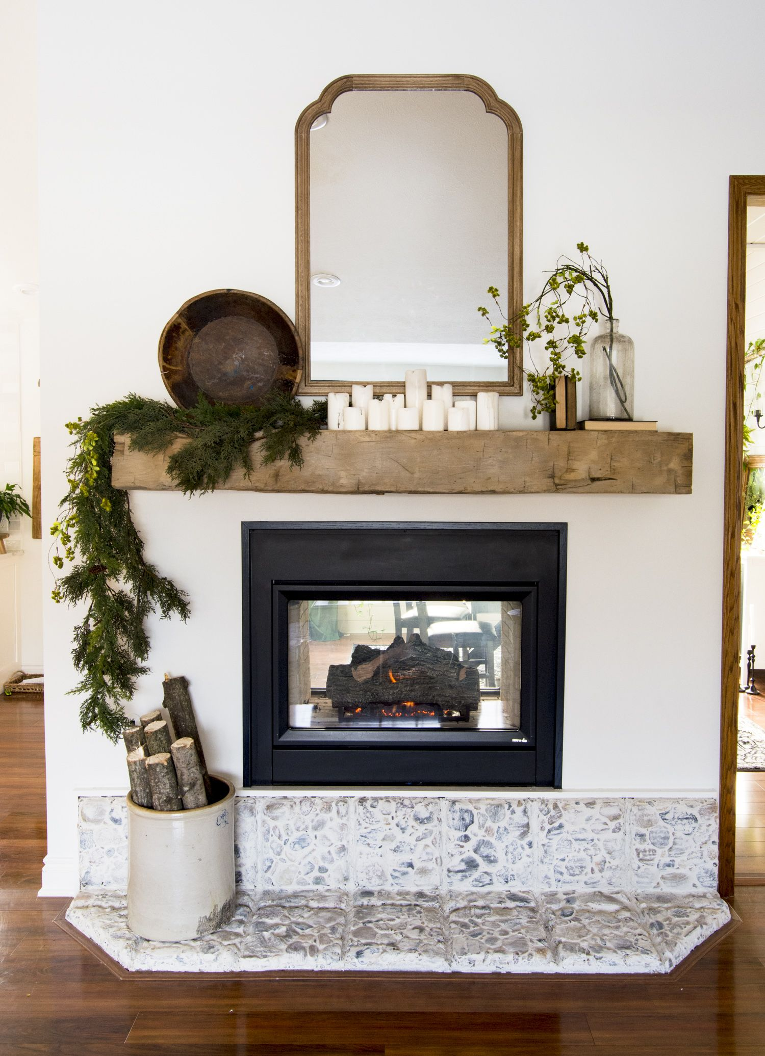 Styling A Rustic Barn Beam Mantel With Modern Farmhouse Mantel Decor In 2020 Farmhouse Mantel Rustic Mantel Mantel Decorations