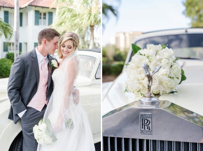 Rolls Royce with wedding bouquet and bride and groom. See more photos at www.sarahben.com