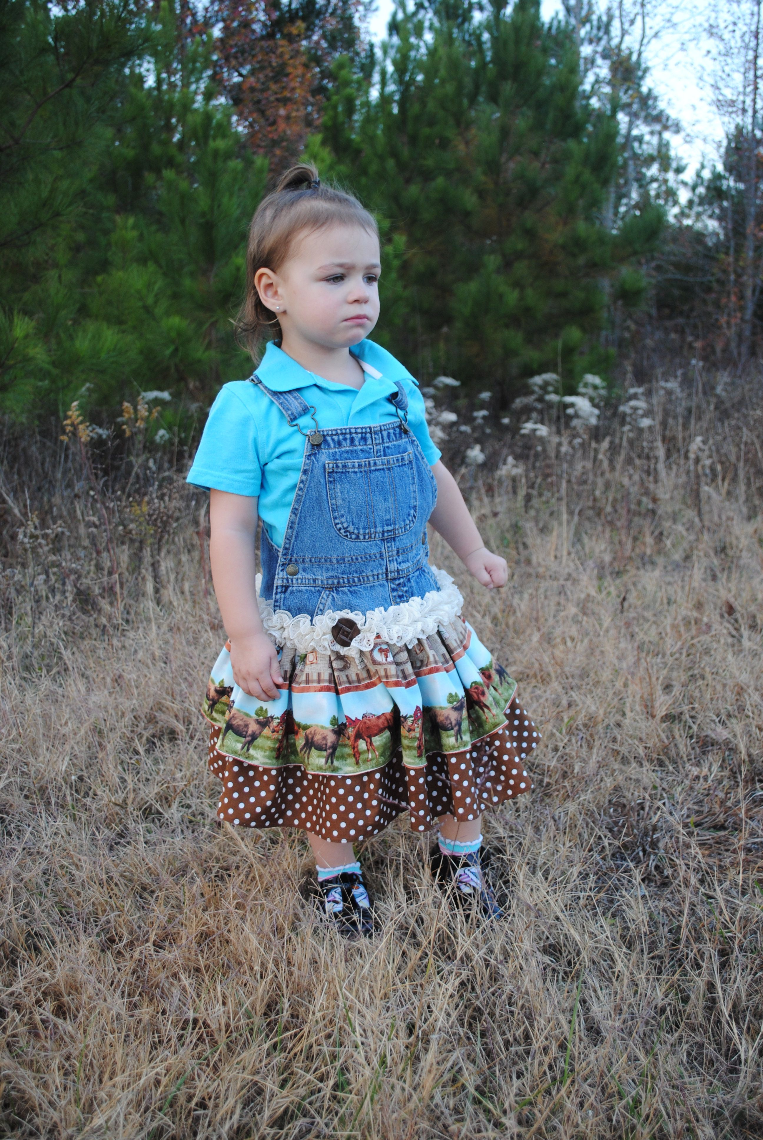 repurpose childrens overalls, overall dress, lace ruffles vintage button