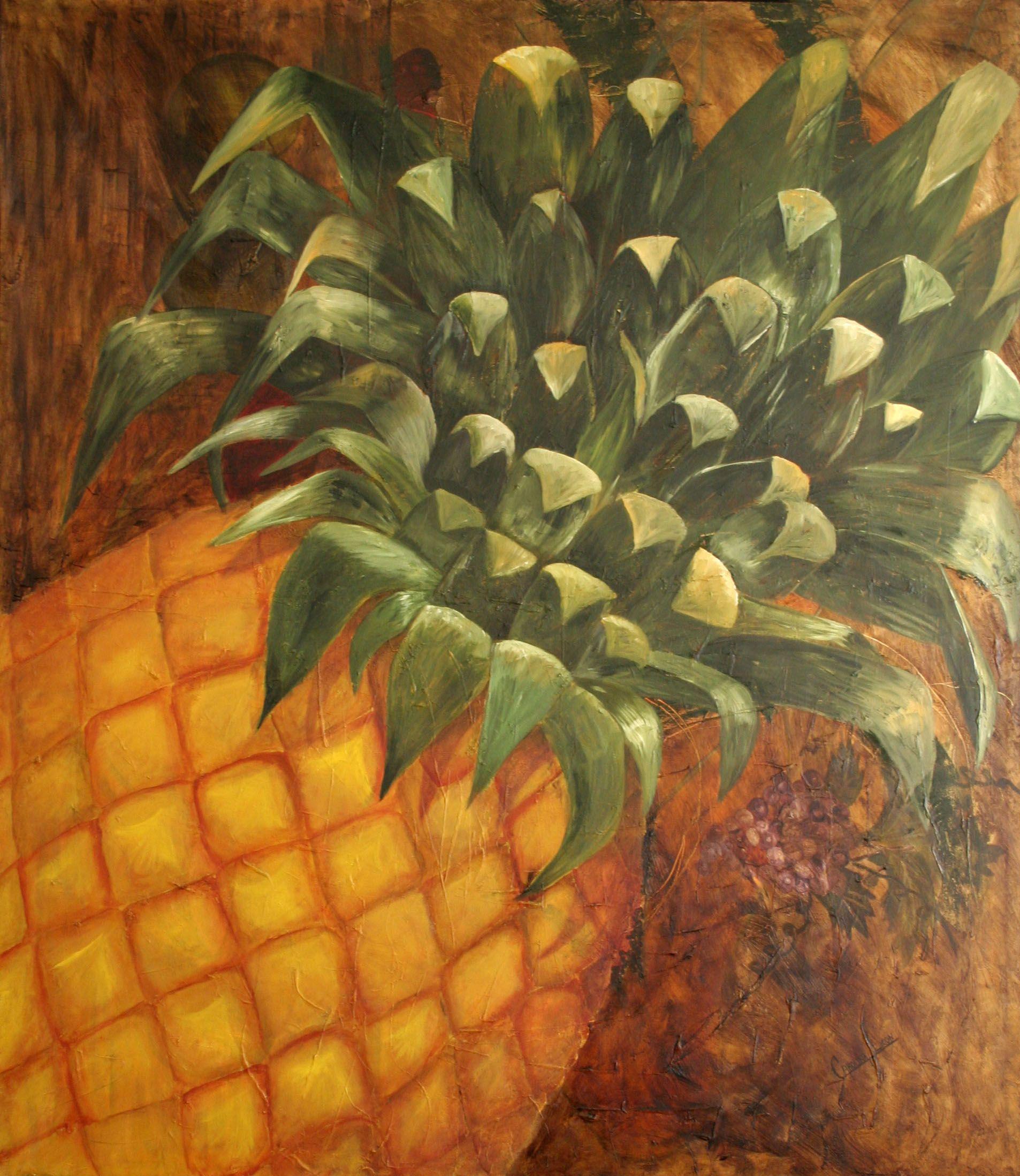 Oli painting pineapple water pintura al oleo - Pinturas al agua ...