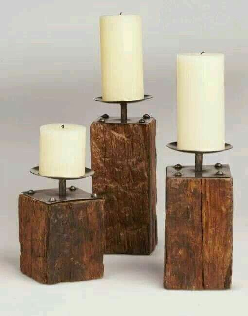 By Nancy | Diy candle holders, Candle holders, Wooden candles