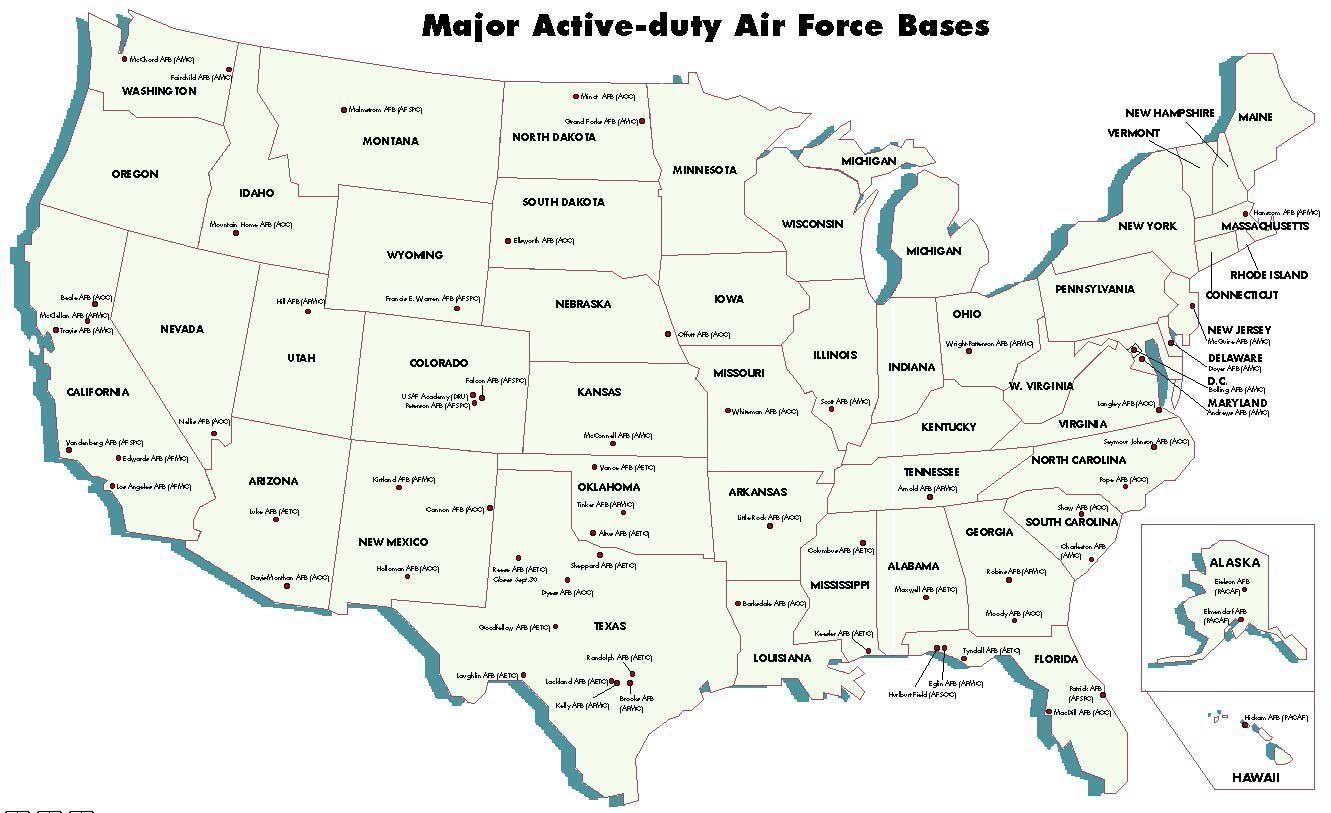 USAF Bases Map | Air Force Facilities - United States ...