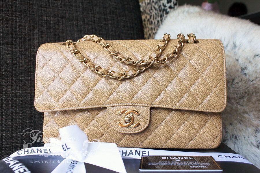 4f4d09c9aa70 Timeless Luxuries - CHANEL Beige Caviar Classic Double Flap Bag Gold ...