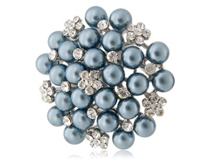 High Quality Copper Alloy Pearl Decorated Plated Brooch (Blue)