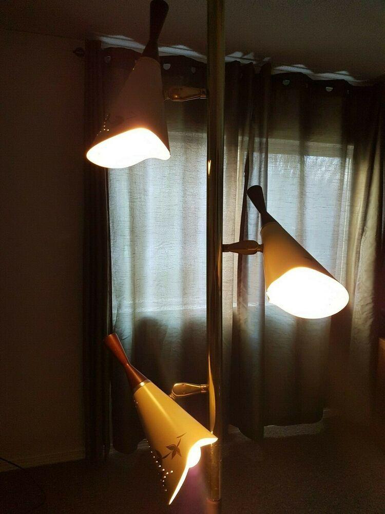 Tension Pole Lamp Mid Century 3 Light Vintage Pole lamps