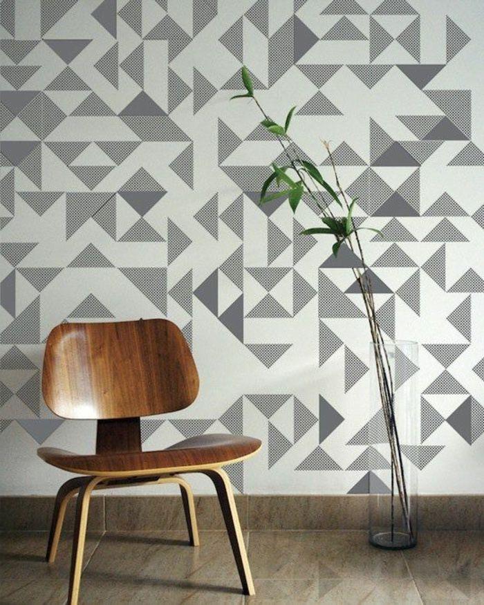 tapetenmuster geometrisch wandgestaltung wohnzimmer Pinterest