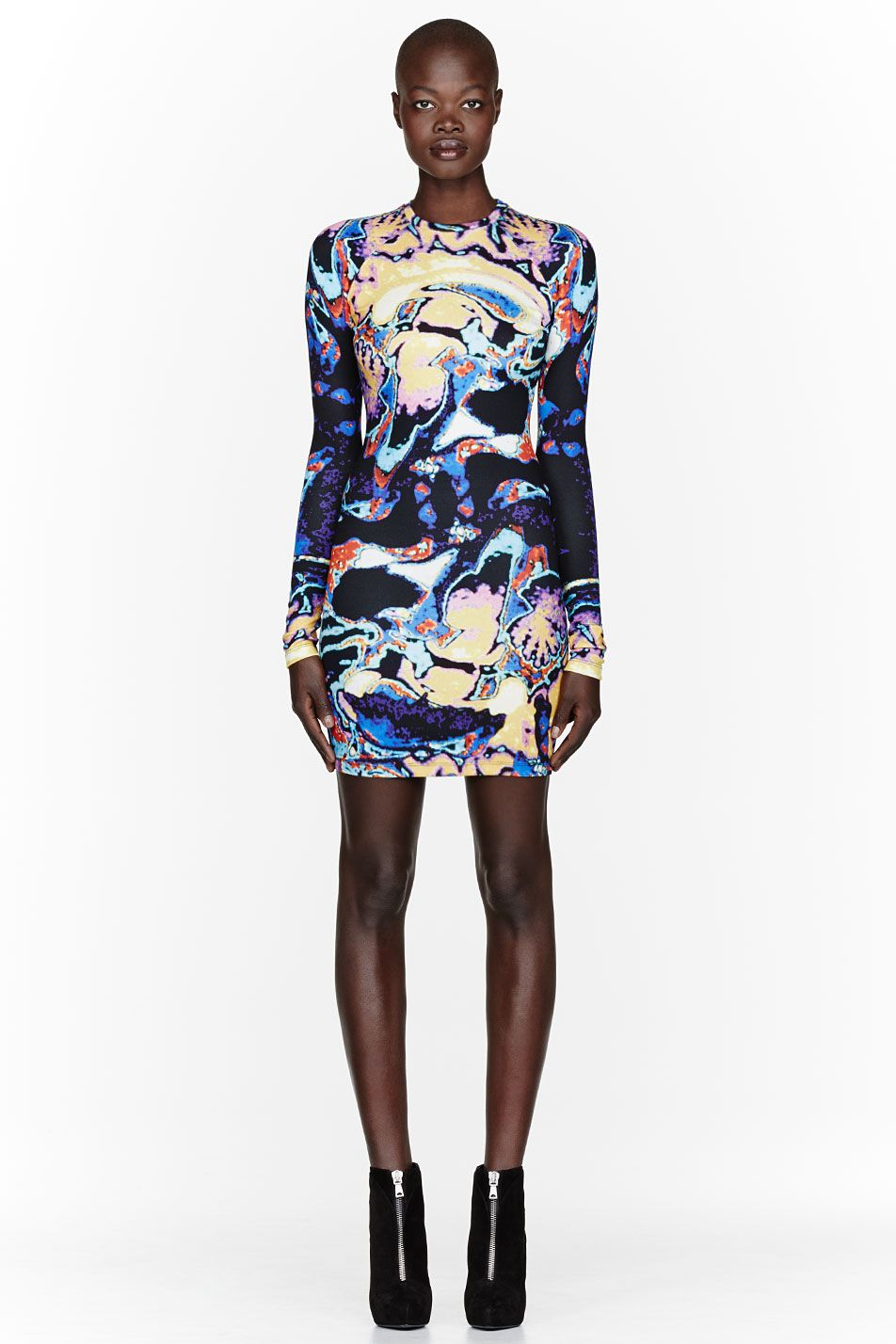 203786af7afb Christopher Kane Yellow Brain Scan Print Bodycon Dress | Fashion ...