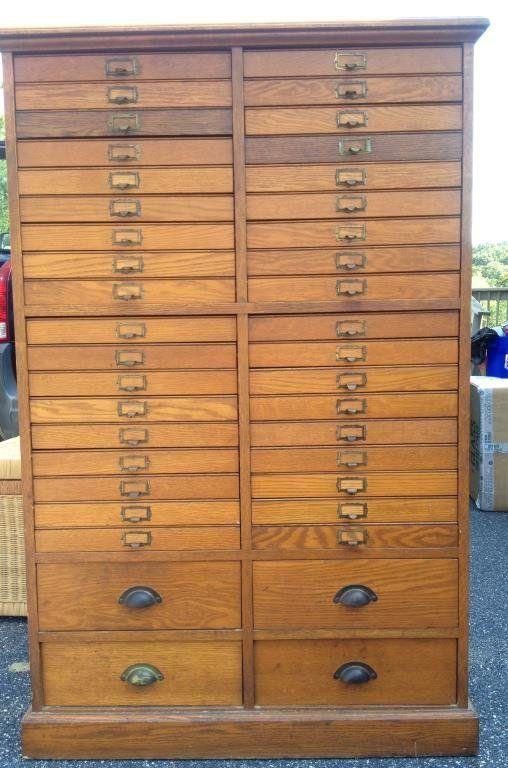 Early 20th Century Oak Watch Makers Cabinet or specimen cabinet ...