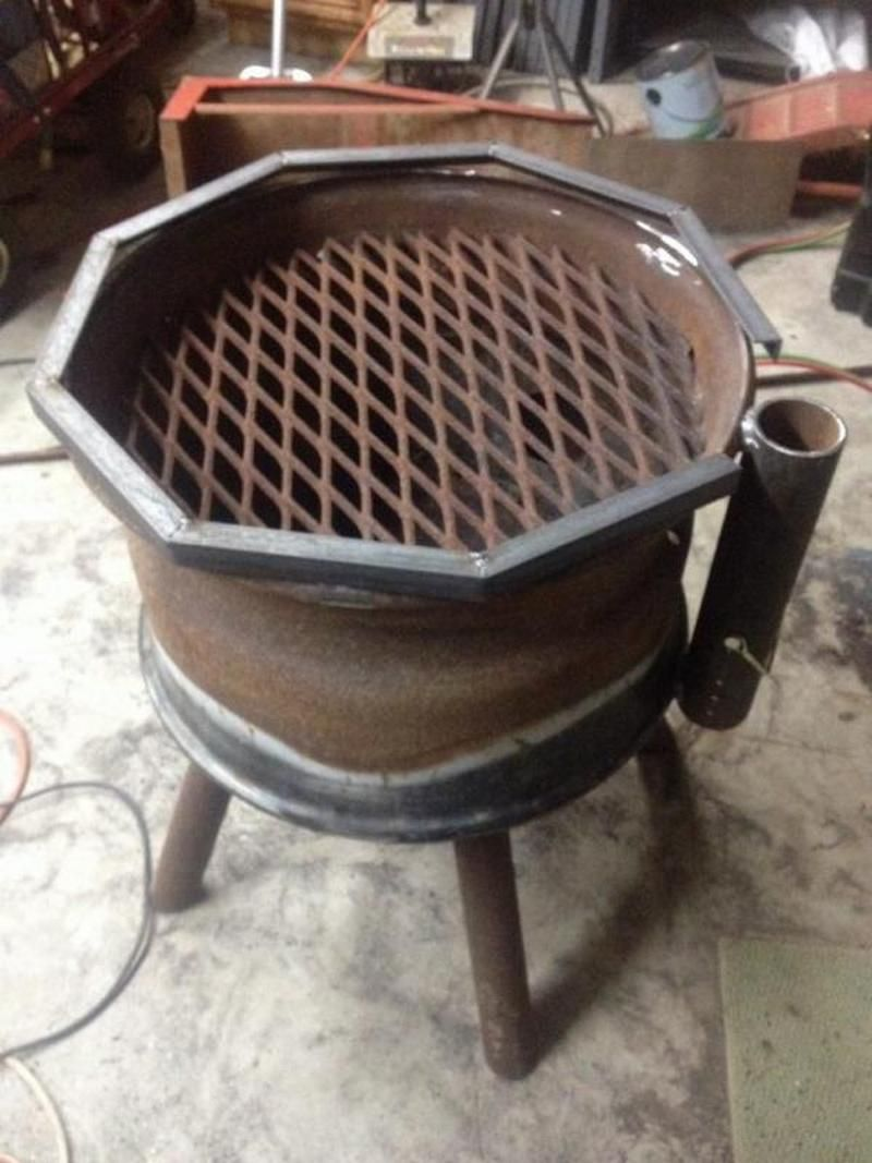 Recycled Rim Bbq Fire Pit Pinterest