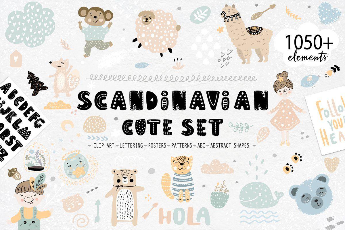 Scandinavian Cute Clipart Patterns Clip Art Lettering Kids Cartoon Characters