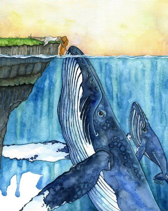 Whale Art, Watercolor Painting, Whale Painting, Whale and Girl, Whale Print, Nursery Art, Humpback Whale, Print titled, The Fisherman's... #mygirl