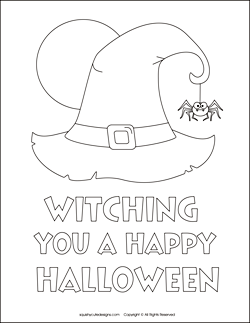 Free Halloween coloring pages - witch coloring sheets - witch hat ...