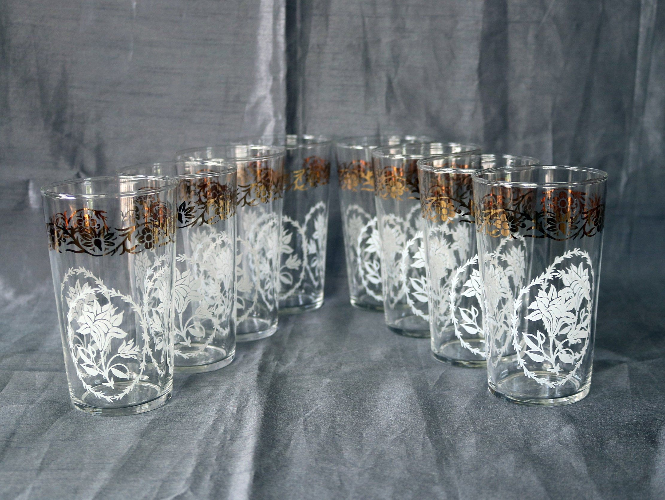 Set Of 8 Federal Glass Drinking Glasses Tumblers Gold