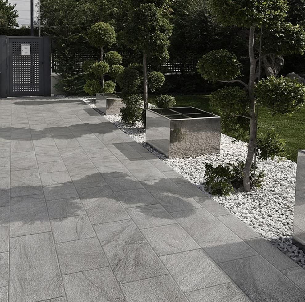 Patio tiles gray tile gray stone google search my for Garden decking squares