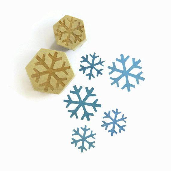 Minimal Schneeflocke Stamp Set, Holz montiert Hexagon Stempel-Set