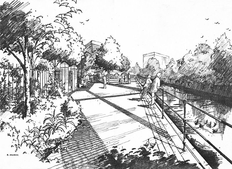 Richard Marshart Canal Side Landscape Project Hand DrawingsArchitectural DrawingsSketchingPerspectiveArchitecture DrawingsSketchesDrawing Architecture