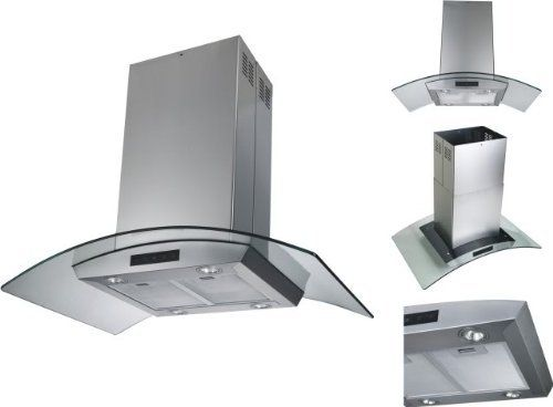 36 Glass Island Mount Range Hood With 870cfm Dishwasher Safe 6 Round Duct Vent Six Layer Grease Filters Electronic Button Control Panel High Quality 304 Brush S