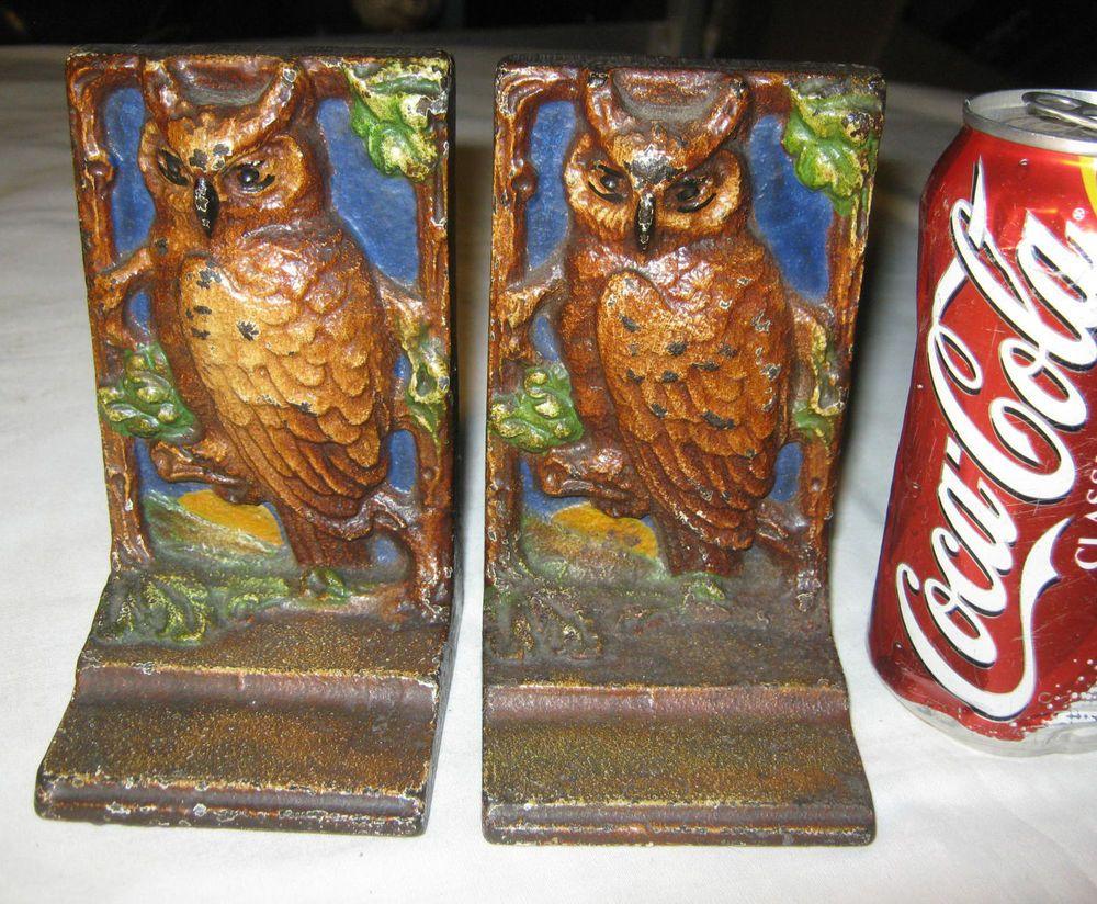 ANTIQUE HUBLEY 47 CAST IRON NIGHT OWL MOON ART STATUE