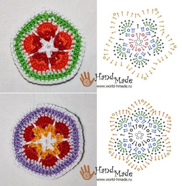 Crochet African Flowers 5 & 6 - Chart ❥ 4U hilariafina http://www ...
