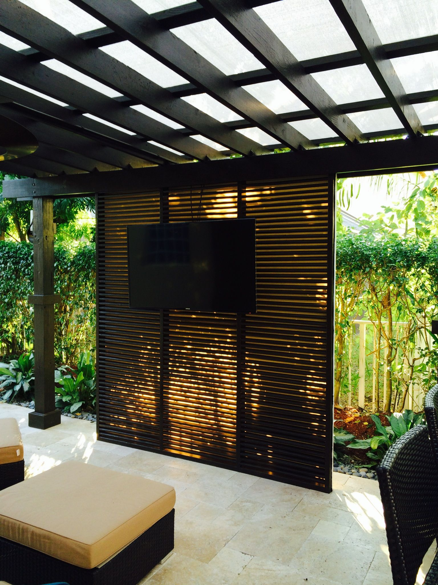 Pergola shade structure for outdoor kitchen with privacy wall new