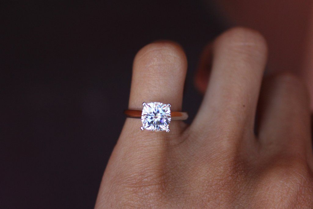 a595cc12e5895 2.20 Carat Forever One Moissanite Cushion-Cut Solitaire Engagement ...