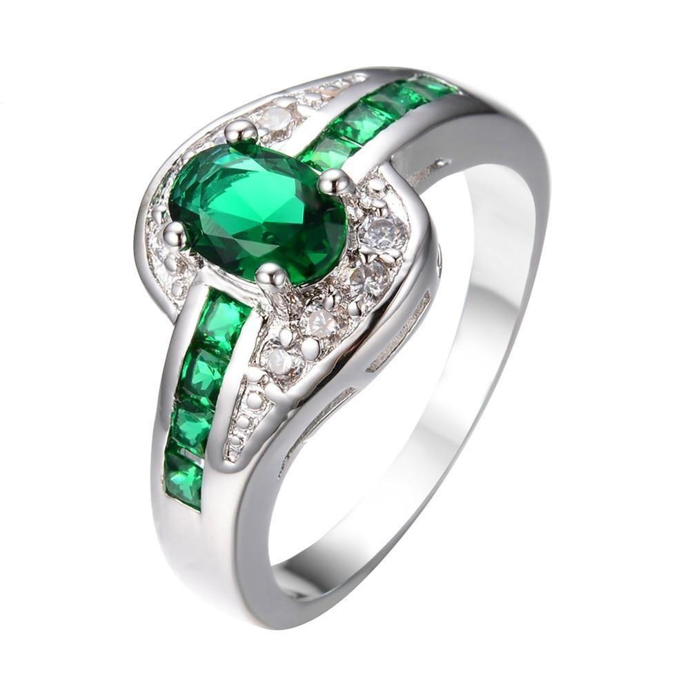 Female oval ring fashion white u black gold filled jewelry vintage