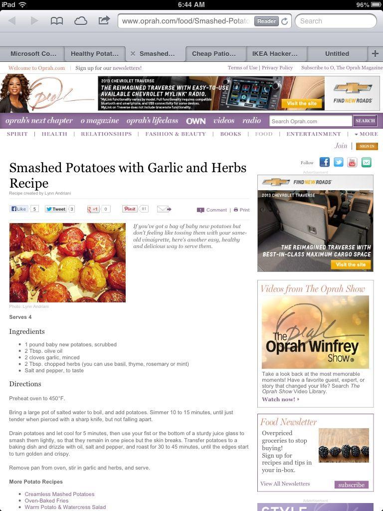 Smashed potatoes w/garlic and herbs