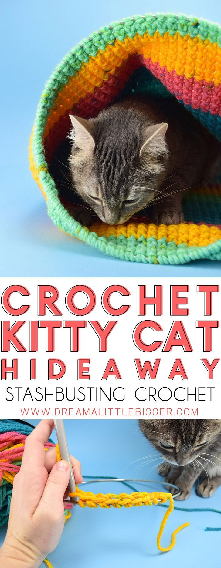 Crochet Cat Sack Hideaway | Crochet cats, Yarns and Kitty