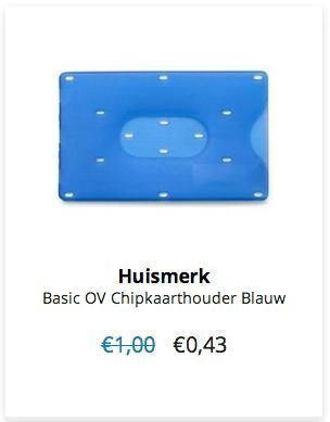 € 0,43 per stuk www.ovstore.nl/nl/huismerk-basic-ov-chipkaarthouder-blauw.html verzendkosten € 1,00 t/m 6 jan 15!