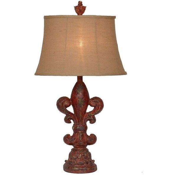 Distressed red fleur de lis table lamp featuring polyvore home distressed red fleur de lis table lamp featuring polyvore home lighting mozeypictures Gallery