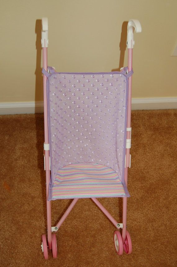 Lavender and Stripes Doll Stroller Seat on Etsy, $9.99