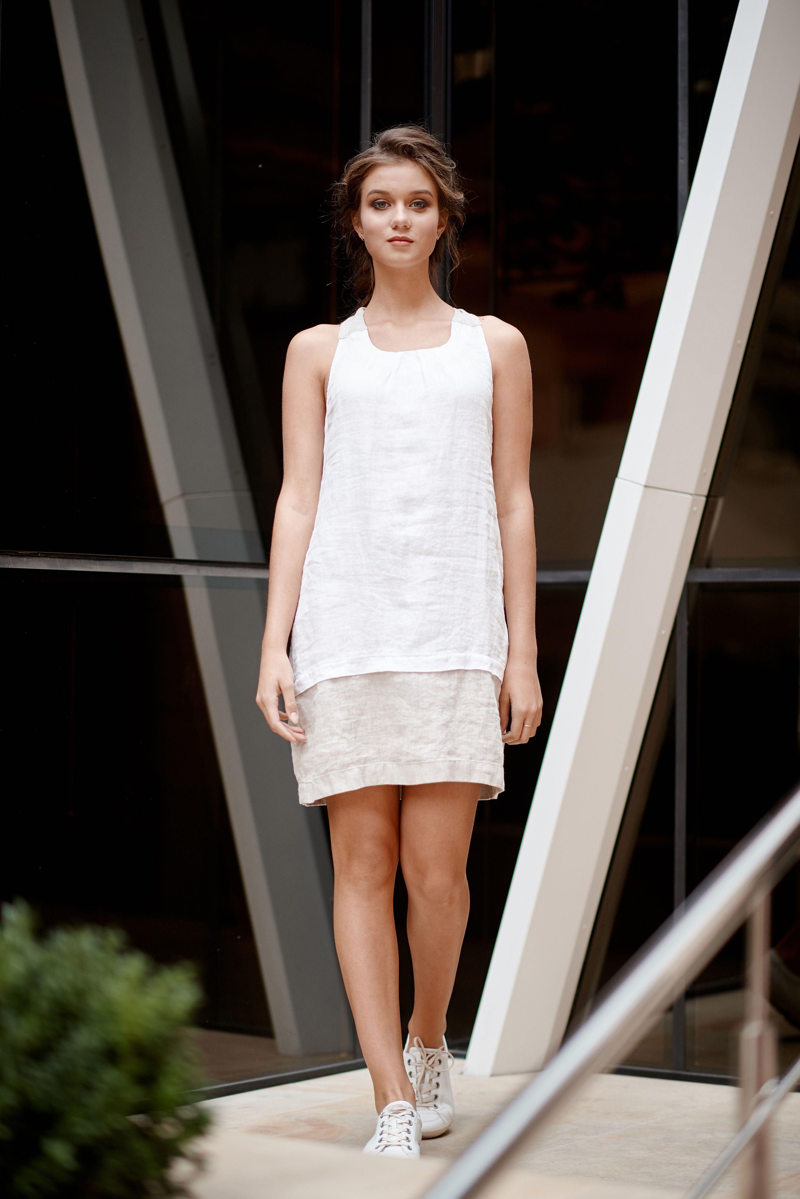 Linen Sundress Women, White Linen Dress, Beige Linen Dress