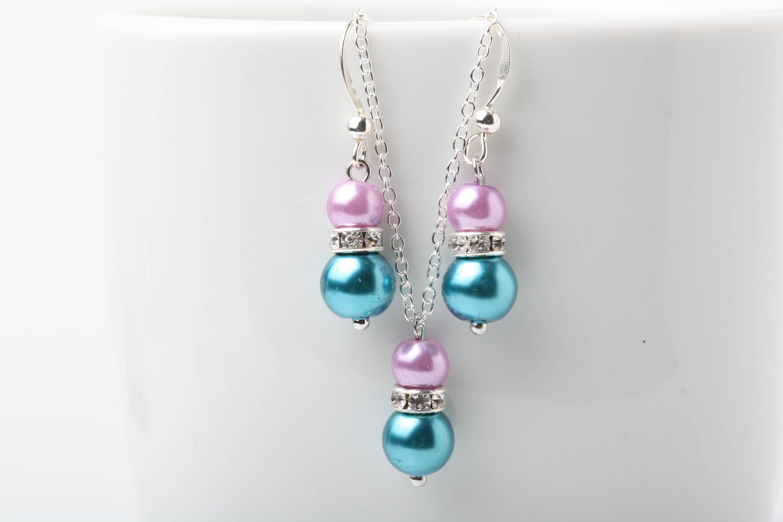 Bridesmaid jewelry set, Teal Blue Purple pearl earrings