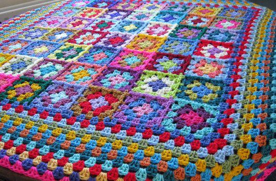 Granny Squares Crochet Blanket Afghan Big Border | Manta afgana ...