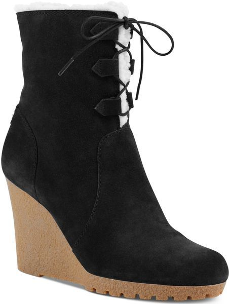 8bab50611c9c Women s Black Michael Rory Faux-Shearling Ankle Wedge Booties