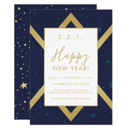 navy gold chevron new years party invitation invitations custom unique diy personalize occasions