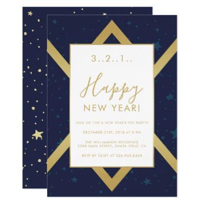 navy gold chevron new years party invitation invitations custom unique diy personalize occasions