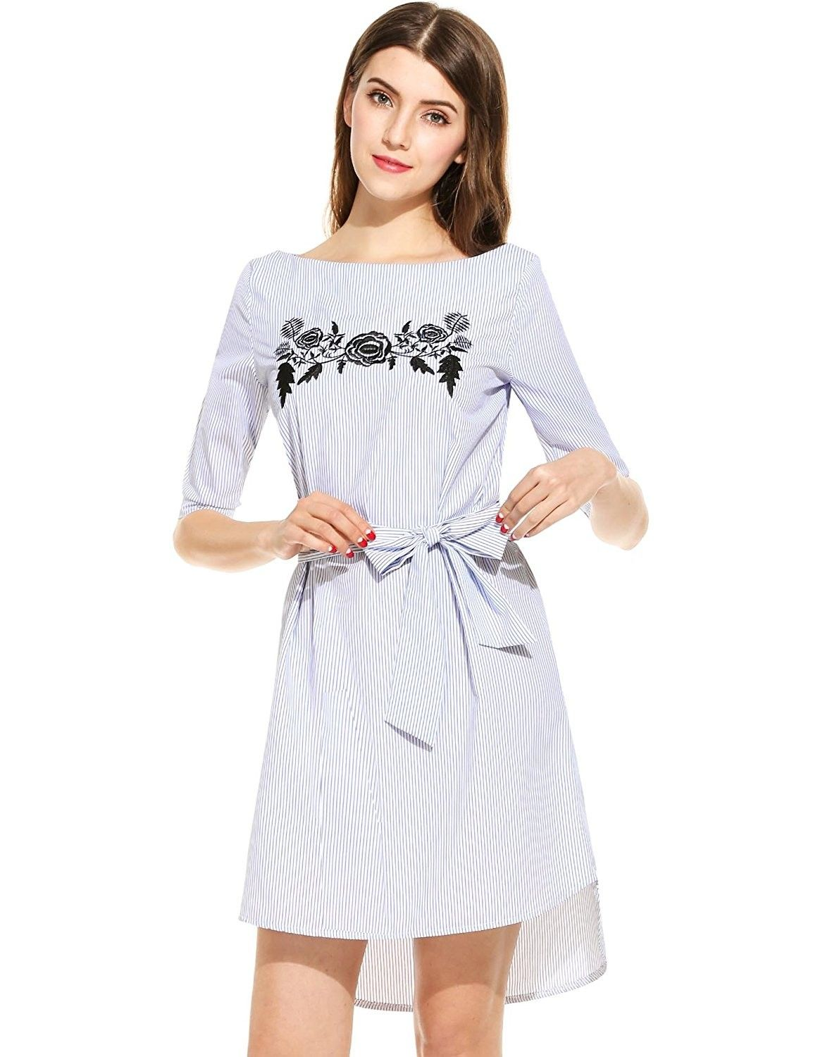 dbac5297a9322 Women's Boat Neck Floral Embroidered Striped Shirt Dress - Blue -  CR12O8N96JG,Women's Clothing, Dresses, Casual #women #fashion #clothing # outfits #sexy ...