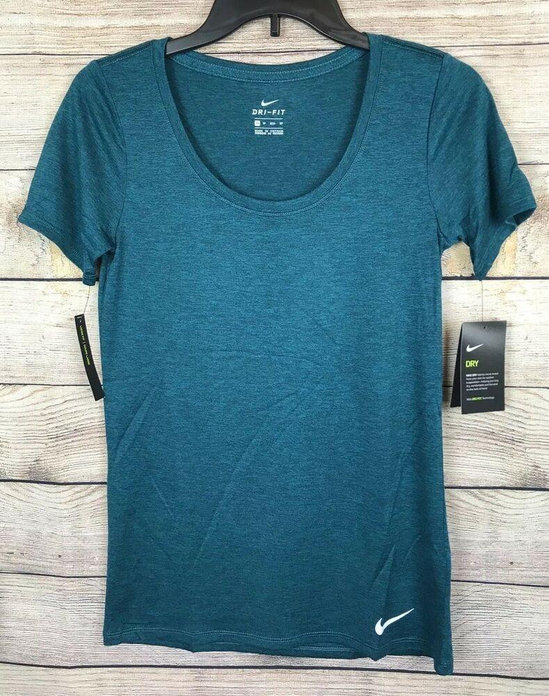 00cbc276750fb7 Nike Dri Fit Scoop Neck Shirt Women s Size XS NWT - Aqua Blue 887224119486