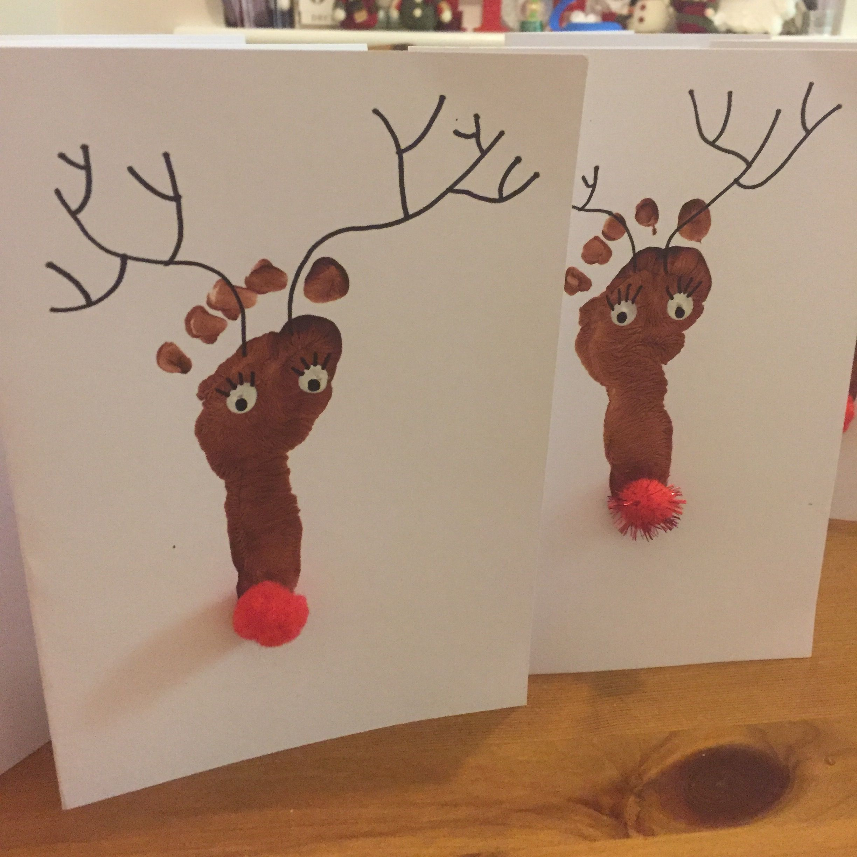 Baby Feet Christmas Cards Reindeers Handprint Christmas Cards Christmas Cards Handmade Kids Baby Christmas Card