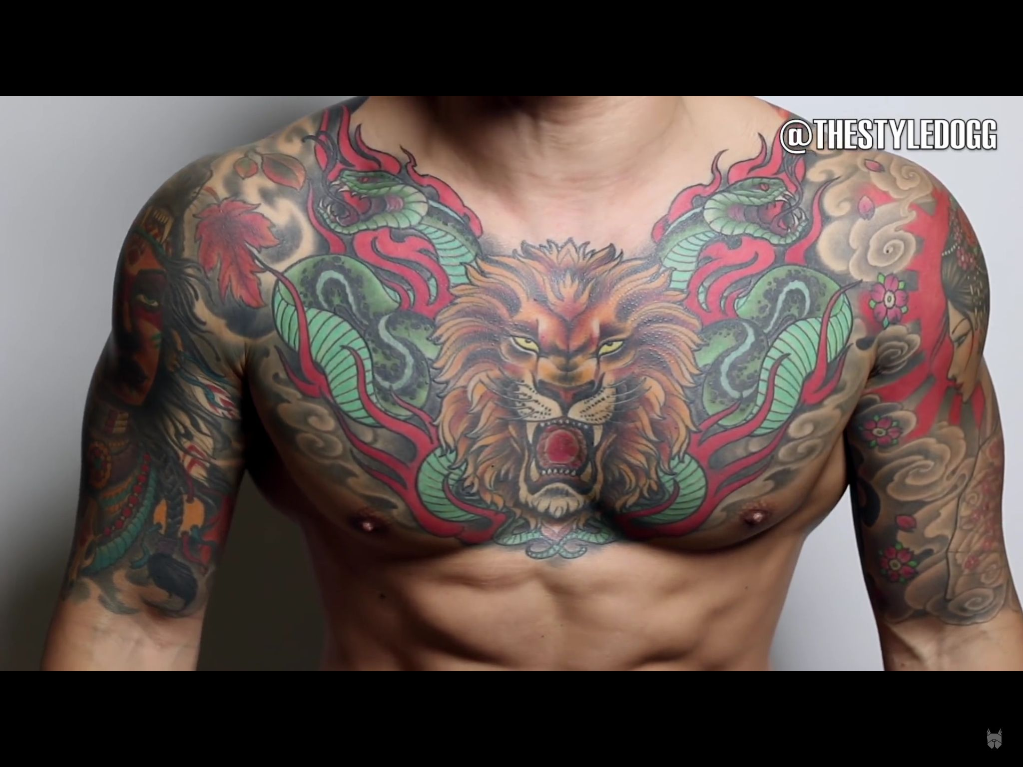 Chest tattoo men tattoos pinterest chest tattoo for Color chest tattoos